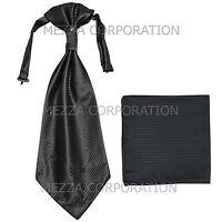 New Vesuvio Napoli Men's Polyester Ascot Cravat Necktie Hankie Stripes Black