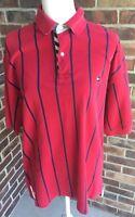 Tommy Hilfiger Men's Red/Blue Striped Sz L Polo S/S Shirt