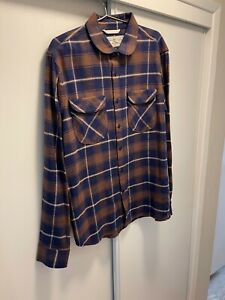 Rogue Territory Mens Extra Large XL Brown Blue Plaid Rancher  Shirt Flannel RGT