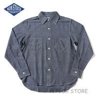 Non Stock Mens 6.5oz Selvage Chambray Work Shirt Autumn Casual Long Sleeve Shirt