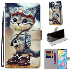 3D Painted Cool Cat Animal Flip Card Wallet Bracket Case Cover For Various Phone