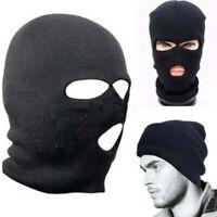 3 Hole Warm Ski Mask Balaclava Black Knit Cap Snow Winter Hat Face Shield Beanie
