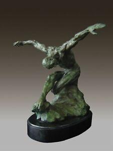 Bronze Sculpture Athletic Male Yoga Exercise Modern Art