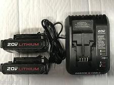 2 Pack Porter Cable 20 Volt Lithium Batteries PCC681L and (1) Charger PCC691L R
