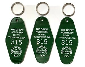 (3) TWIN PEAKS GREAT NORTHERN HOTEL Key Fobs, Key chain New