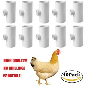 10 Pack PVC Tee Fittings for Chicken Poultry Waterer Drinker Cups + Nipples