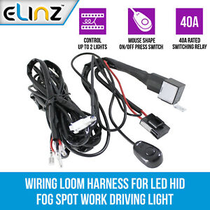 Wiring Loom Power Harness for 2x LED Work Driving Light Bar 12V 40A Switch Relay