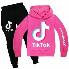 New Tik Tok Boys Girls Fashion Casual Cartoon Spring  Autumn Hoodie T-Shirt Set