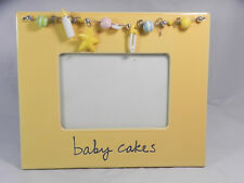 """""""Baby Cakes"""" PICTURE FRAME - Ceramic w/glass & stand - bottle, star, pin, beads"""