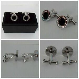 MONTBLANC Cufflinks Stainless Steel & Black Onyx Inlay - BEAUTIFUL! NEW! #107463