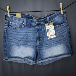 Levis Womens Jeans Shorts Plus 22W Mid Rise Stretch Denim Cuffed