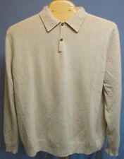 BLACK BROWN 1826 LIGHT OATMEAL BEIGE 100% CASHMERE POLO SWEATER SIZE 2XLT