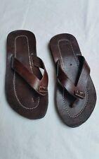 Moroccan handmade100% leather upper dark brown mens sandals eur 43-44