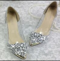 Ladies Rhinestone Pointed Toe Stiletto Beautiful Crystal Womens Wedding Shoes