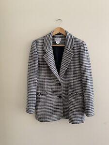 Vintage Katies Houndstooth Wool Blend Blazer Jacket Womens Size 10