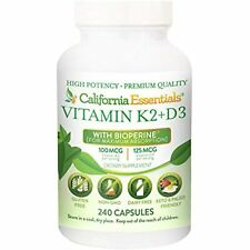 Vitamin K2 + VIT D3 5000 IU with BioPerine for Maximum Absorption (240 Capsules)