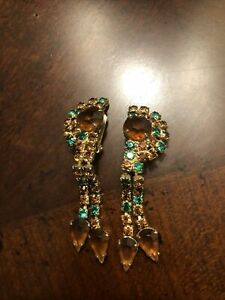 Vintage Green & Amber Rhinestone Drop Earrings - Gold Tone, Clip On