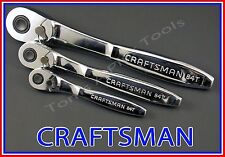 CRAFTSMAN HAND TOOLS 3pc 1/4 3/8 1/2 Fine Tooth THIN PROFILE Ratchet Wrench set