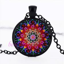 Red Mandala Flower Photo Cabochon Glass Black Chain Pendant Necklace#CJ28