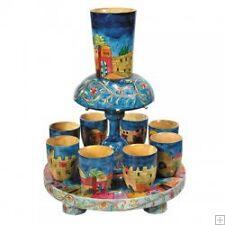 Kiddush Fountain Hand Painted Wooden 8+1 Cups DIFERENT Beautiful Judaica Kidush