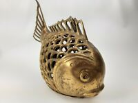 """Vintage - Large Brass Fish - Hanging Decor - Figurine As Found 11"""" L x 7"""" T x 4"""""""