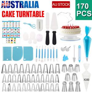 170 Cake Decorating Set Kit Baking Supplies Spatula Turntable Stand Nozzles AU