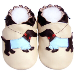 Soft Sole Leather Baby Infant Children Gift Wiener Dog Beige Crib Shoes 6-12M