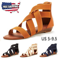 Women's Summer Beach Sandals Casual Roman Strap Open Toe Ladies Flat Shoes USA