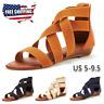 Women's Summer Beach Sandals Casual Roman Strap Open Toe Ladies Flat Shoes USA
