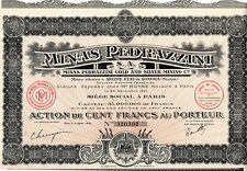 Ensemble de 8 Actions au porteur - Minas Pedrazzini Gold and Silver Mining -1921