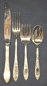 STIEFF LADY CLAIRE STERLING FLATWARE SET FOR 4 WITH FOUR PIECES PER SETTING 16PC