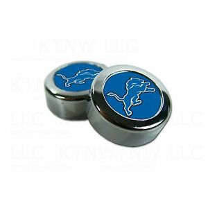 NEW Detroit Lions Football License Plate Frame Screw Caps/Bolt Cover - 2PC