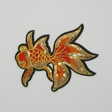 Gold Fish Beauty Crewel Embroidered Craft Bouquet Needlework Decor Sew Iron