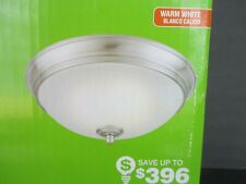 Commercial Electric 11 inch Flush Mount LED Ceiling Light Fixture Brushed Nickel