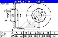 2x Bremsscheibe für Bremsanlage Vorderachse ATE 24.0122-0148.1