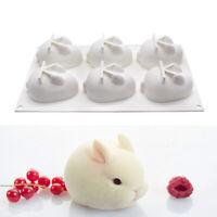 6Hole Silicone Mold 3d Rabbit Shape Cake Mold Mousse Dessert Mold Baking Decor^D