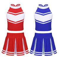 Kids Girls Cheerleader Costume Uniform Cheerleading School Fancy Dress Outfit