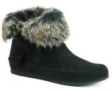 $60 Girls Young Womens Madden Girl Finnn Black Faux Fur Moccasin Ankle Boots- 5