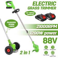 More details for 88v electric cordless strimmer grass trimmer garden edger batteries blades tool