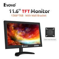 "EYOYO 12"" Inch TFT Monitor 1366x768 +Remote Control VGA AV BN Input for PC CCTV"