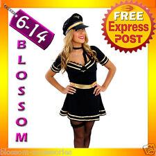 E38 Ladies Pilot Air Hostess Flight Attendant Fancy Dress Costume Outfit + Hat