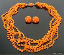WOW Orange Farbe Plastik Blumen Halskette mit Ohrclips Ohrringe, Set,RAR,Sammler