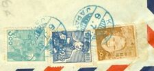 Japan 3 diff Old stamp used on cover KOBE Blue Cancel to USA