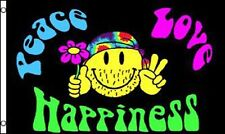 Peace Love & Happiness Flag 5 x 3 FT - 100% Polyester - Festival Hippie Smiley