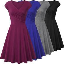 Fashion Women Short Sleeve Flared Tea Plain Midi A-line Party Skater Swing Dress