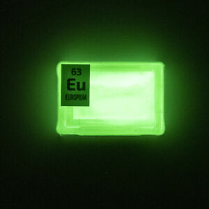 Europium rare earth amazing glow powder. Element Eu in Periodic Element Tile.