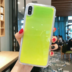 Fluorescent Glitter Dynamic Liquid Quicksand Phone Case Cover For iPhone Samsung