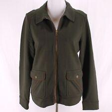 Lauren Ralph Lauren Jacket Sz L Brown Green Zip Front Sweatshirt
