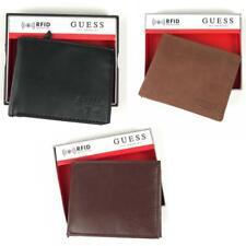 Men's Guess Leather Wallet & Valet RFID Brown Black Dark Brown