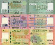 Lebanon 3 Note Set: 1000 to 10000 Livres p90c, 91b, 92b (2014/2016) UNC